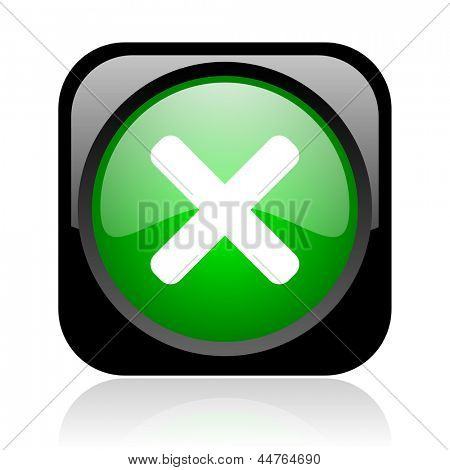 cancel black and green square web glossy icon