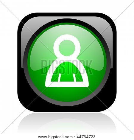 account black and green square web glossy icon