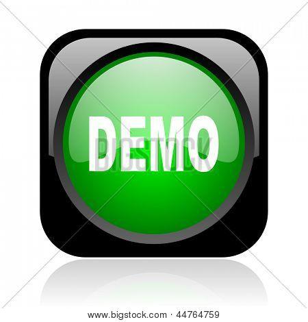 demo black and green square web glossy icon