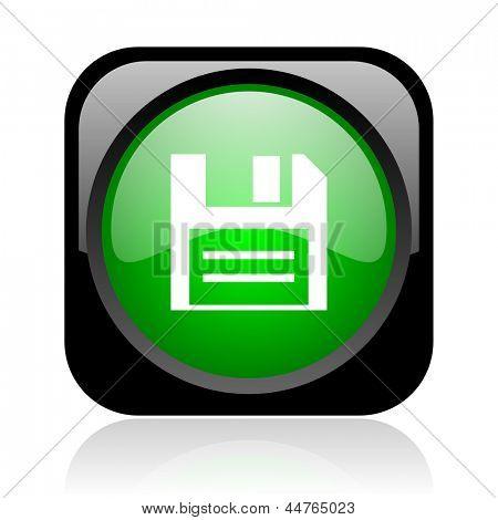 disco negro y verde cuadrado icono brillante web