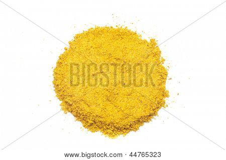 Pile of Turmeric (Curcuma) Powder Isolated on White Background