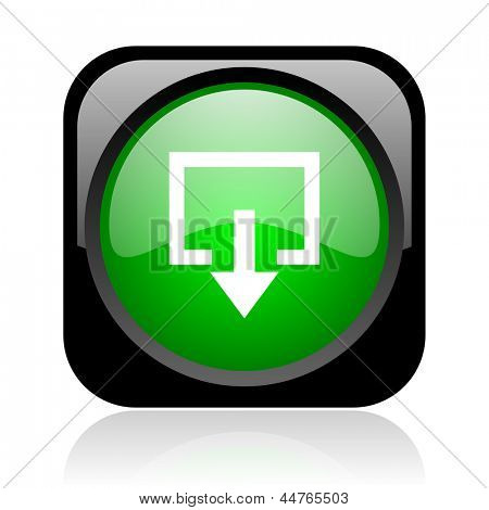 exit black and green square web glossy icon