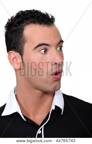 Shocked man wearing shirt