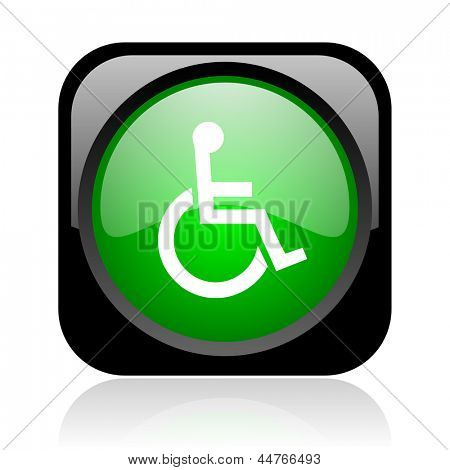 accessibility black and green square web glossy icon