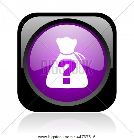 riddle black and violet square web glossy icon