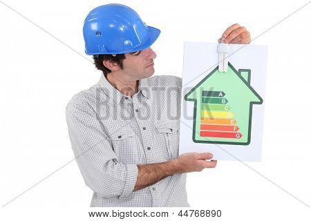 Housebuilder with an eco-light bulb