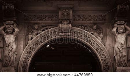 Building facade with archway
