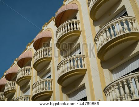 Beautiful balconies in town of Sitges, Spain