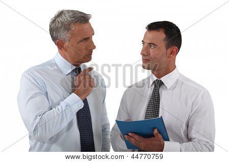 Boss happy with employee