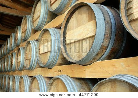 Barrels stored in a cellar