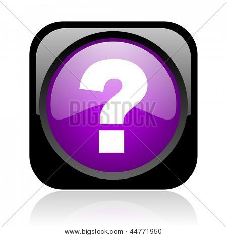 question mark black and violet square web glossy icon