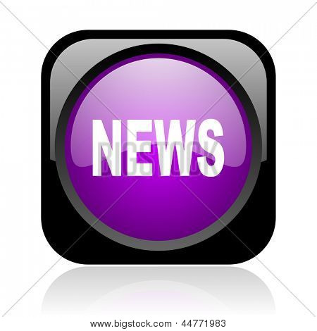 news black and violet square web glossy icon