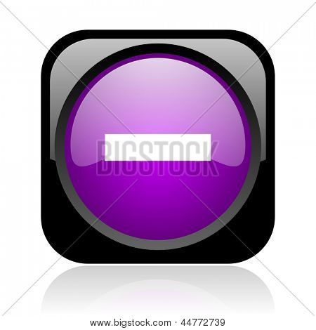 minus black and violet square web glossy icon