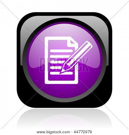 subscribe black and violet square web glossy icon