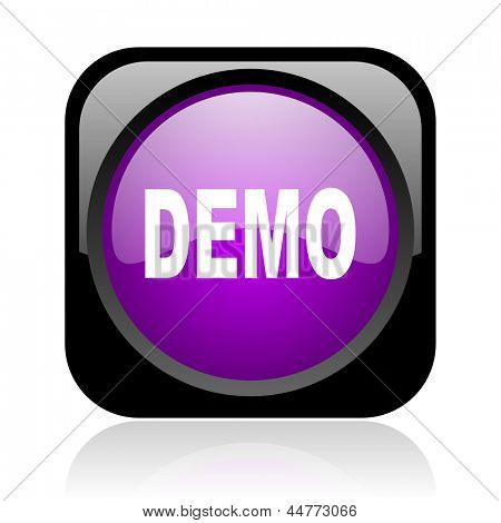 demo black and violet square web glossy icon