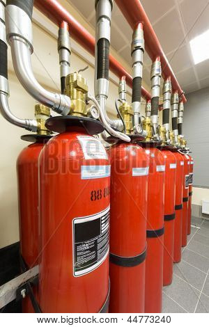 Red balloons of powerful industrial fire extinguishing system.