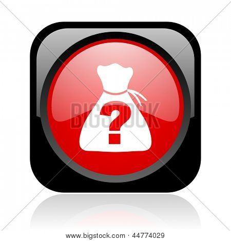 riddle black and red square web glossy icon
