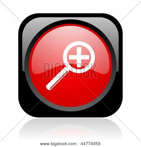 magnification black and red square web glossy icon