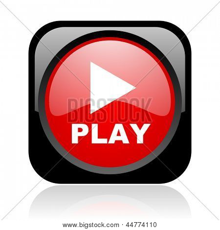 play black and red square web glossy icon