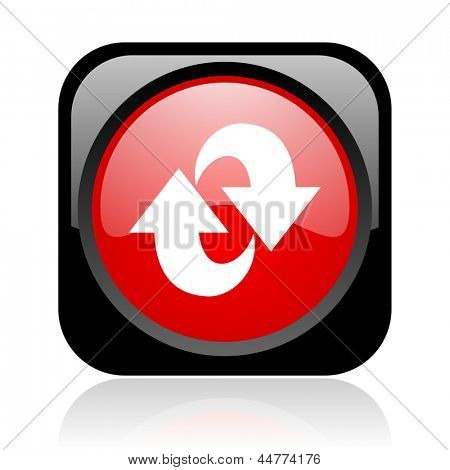 rotate black and red square web glossy icon