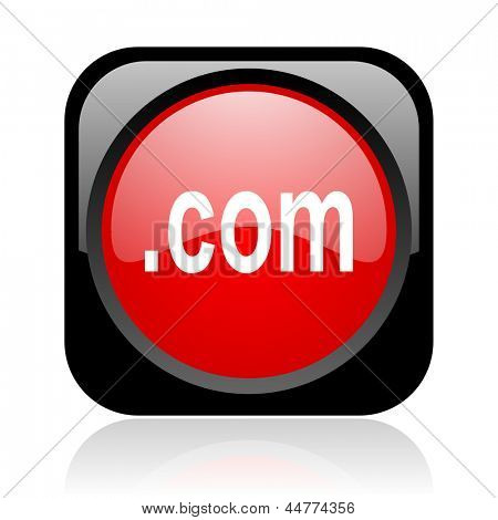 com black and red square web glossy icon