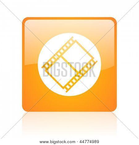 film orange square web glossy icon