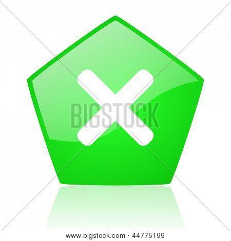cancel green pentagon web glossy icon