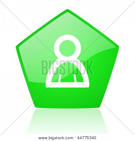 account green pentagon web glossy icon