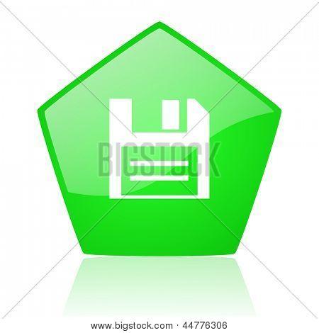 grüne Pentagon Web glänzend Diskettensymbol