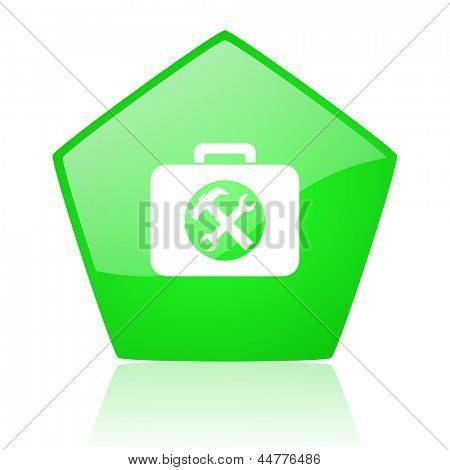toolkit green pentagon web glossy icon
