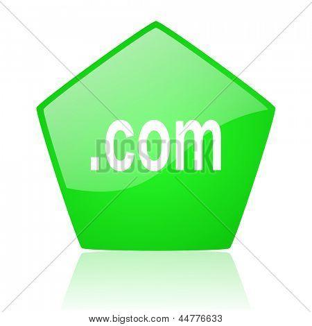 com green pentagon web glossy icon