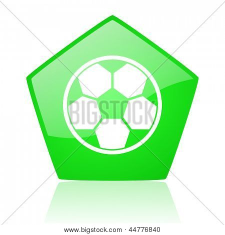 soccer green pentagon web glossy icon