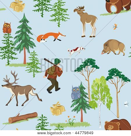 Vector seamless hunting pattern with different wild animals living in the forest