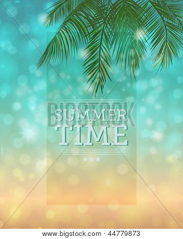 Summertime Background - Bokeh background with palm tree leaves and the sparkling sea and sandy beach in the distance