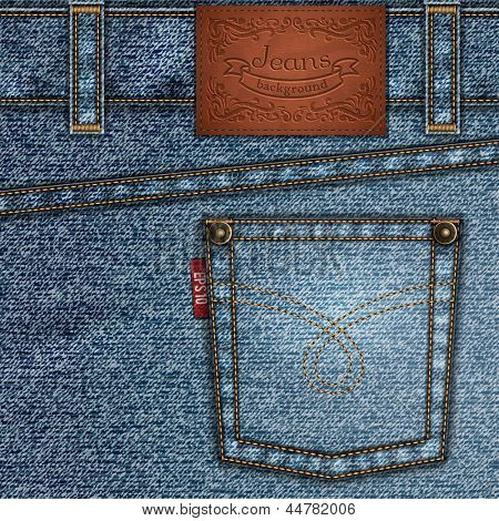 Stitched jeans backcloth illustration with ornate leather label and pocket - eps10