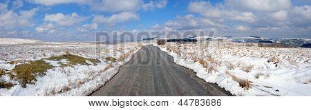 Country Road winter snow panorama, Mynydd Epynt, Wales UK