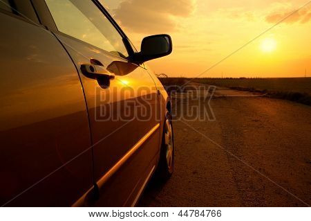 Car detail in the sunset