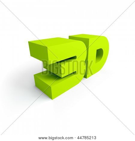 Shiny 3d word. Vector illustration.