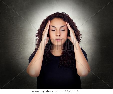 Young Woman With Severe Headache Holding Forehead In Pain
