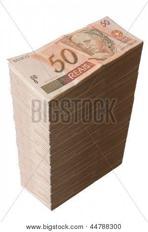 Photo of Brazilian money - Fifty Reais pile