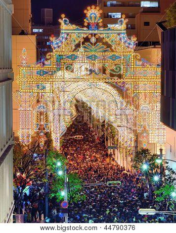 KOBE, JAPAN - DECEMBER 12: Luminarie light festival December 12, 2012 in Kobe, JP. The annual festival commemorates the 1995 Great Hanshin Earthquake.