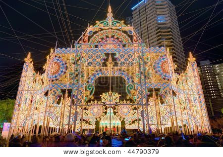 KOBE, JAPAN - DECEMBER 12: Luminarie light festival December 12, 2012 in Kobe, JP. The annual festival commemorates the 1995 Great Hanshin Earthquake.