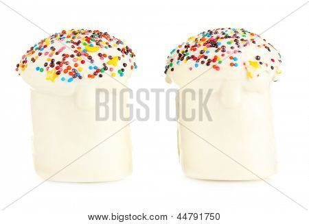 Easter cakes with sugar glaze isolated on white