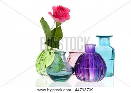 Glass vases rose flower isolated over white background