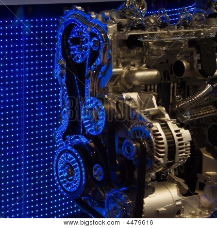 Engine Internals With Blue Led Reflections