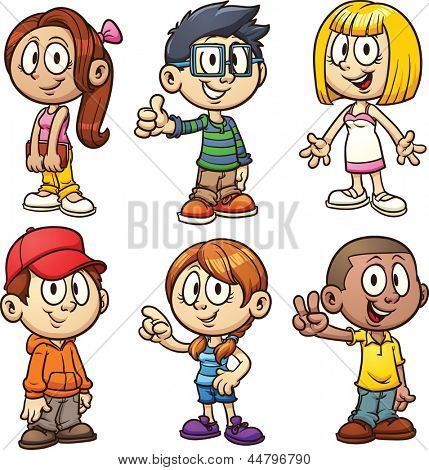 Cute cartoon kids. Vector clip art illustration with simple gradients. Each in a separate layer.