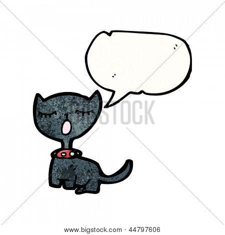 meowing black cat cartoon