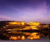 Amer Fort (Amber Fort) illuminated at night - one of principal attractions in Jaipur, Rajastan, Indi