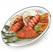 image of lobster tail  - Grilled Lobster Tail Served With Asparagus On White Background - JPG