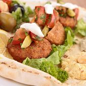 foto of pita  - pita bread with falafel and vegetables - JPG